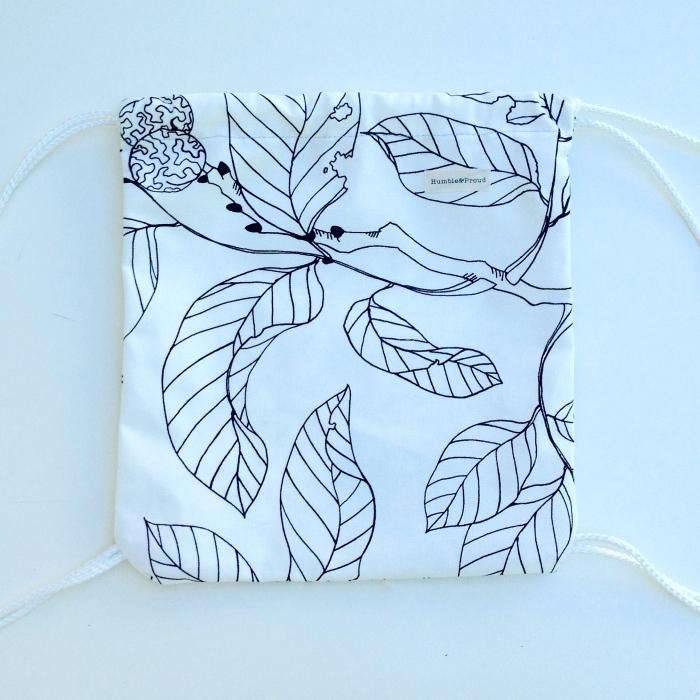 Leaf print knapsack