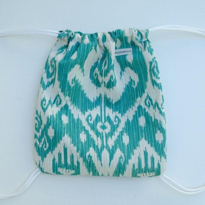 Blue Ikat print knapsack